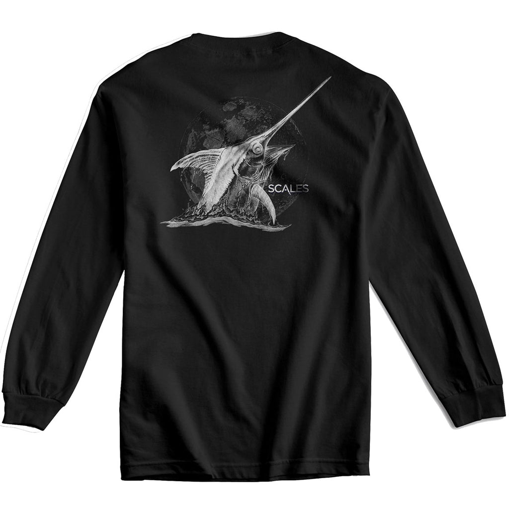 Scales - Moonlit Sword Long Sleeve - Black - OffshoreApparel.com