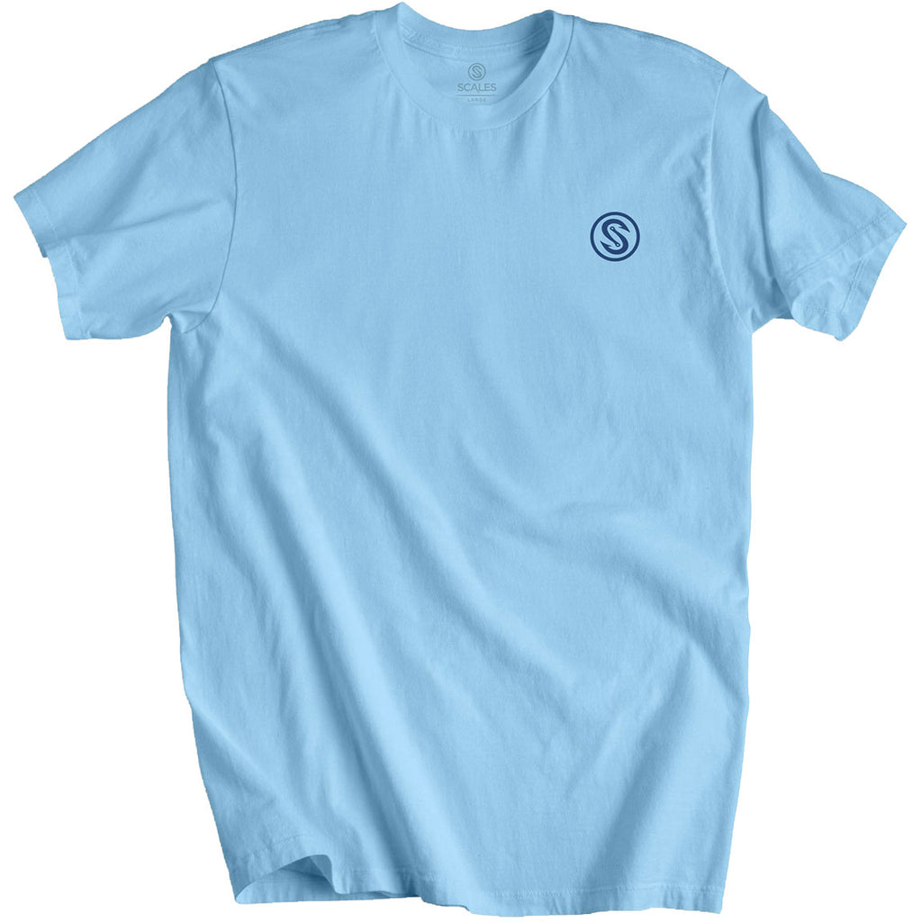 Scales - Open Ocean Fishing Tee - Powder Blue - OffshoreApparel.com