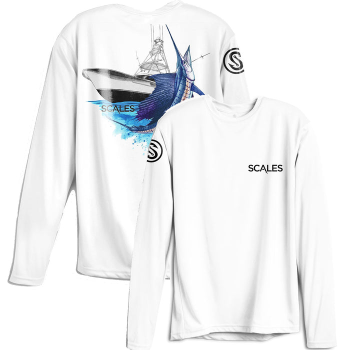 Scales - Sporty Sailfish Performance - White - OffshoreApparel.com