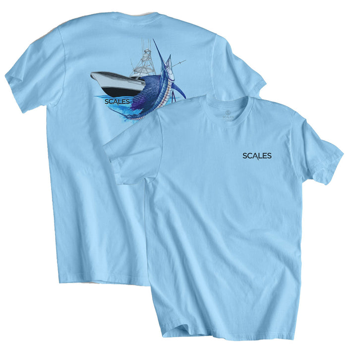 Scales - Sporty Sailfish Tee - Powder Blue - OffshoreApparel.com