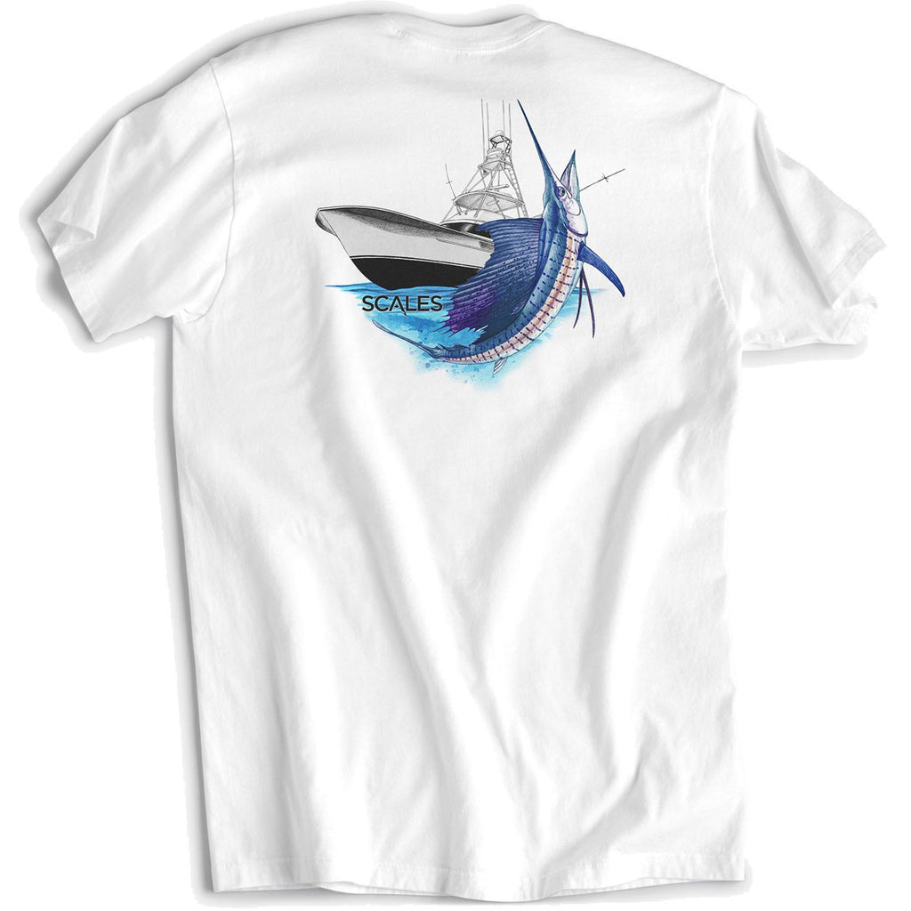 Scales - Sporty Sailfish Tee - White - OffshoreApparel.com