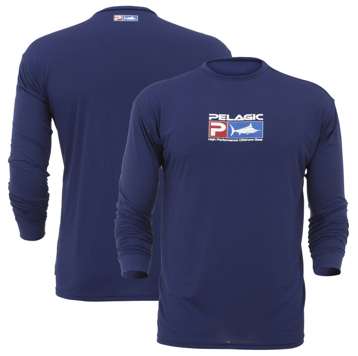Pelagic - Aquatek Long Sleeve SPF Shirt-Navy - OffshoreApparel.com