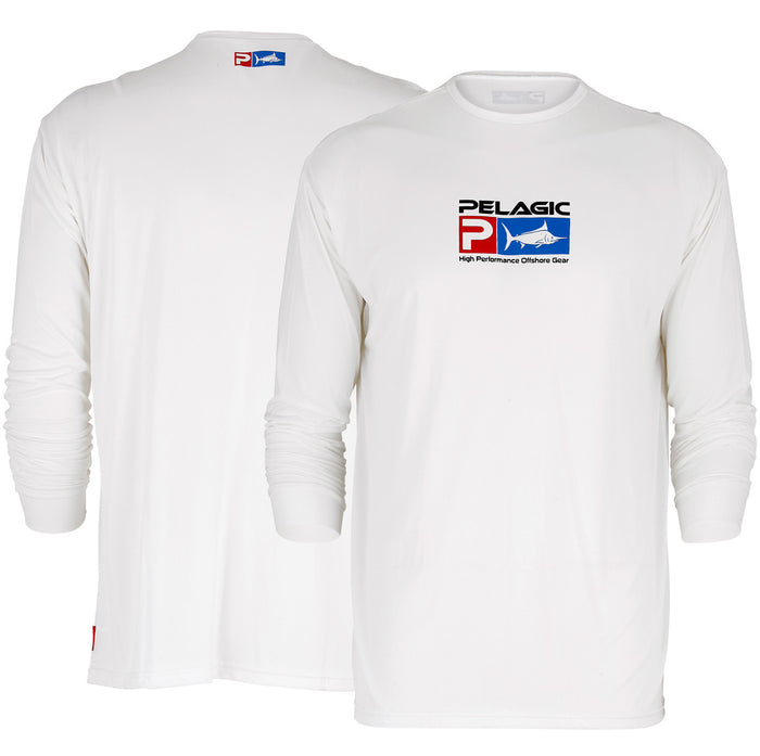 Pelagic - Aquatek Long Sleeve SPF Shirt-White - OffshoreApparel.com