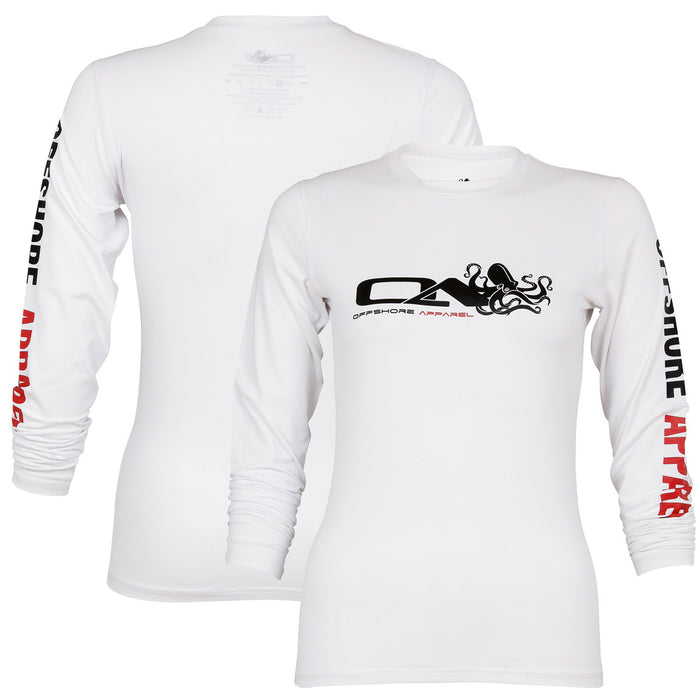 Offshore Apparel - Women's LS Octo Rash Shirt  - White - OffshoreApparel.com