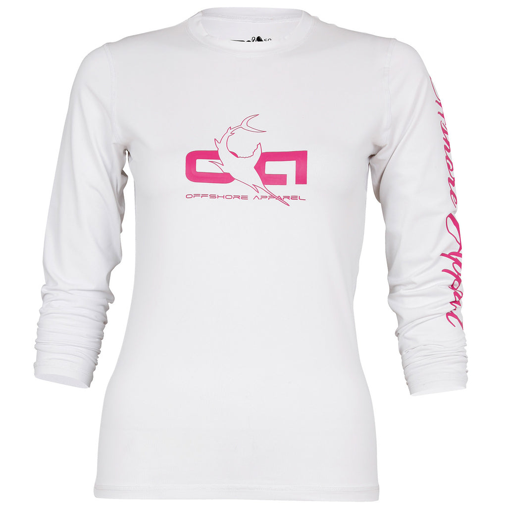 Offshore Apparel - Women's LS Sword Rash Shirt - White - OffshoreApparel.com