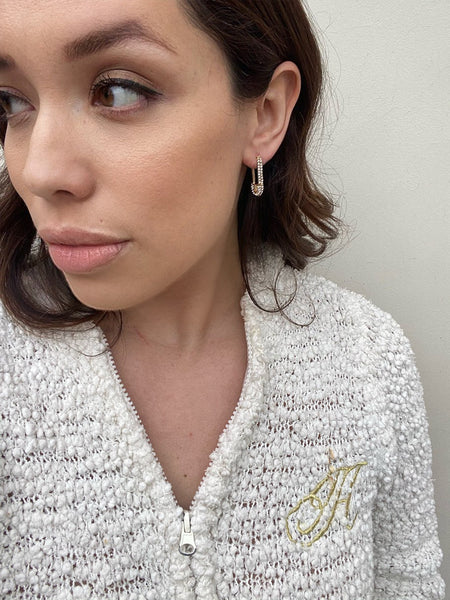 Pavé Diamond Encrusted Safety Pin Earrings