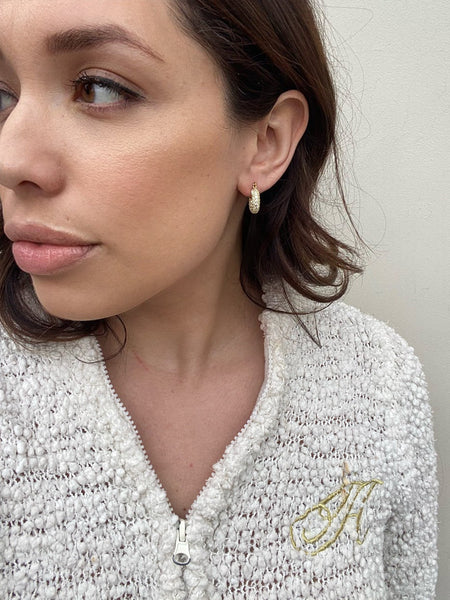 Small Pavé Gold Plated Hoop Earrings