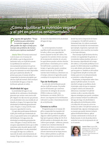 Greenhouse Grower Spanish Article - ¿Cómo equilibrar la nutrición vegetal y el pH en plantas ornamentales?