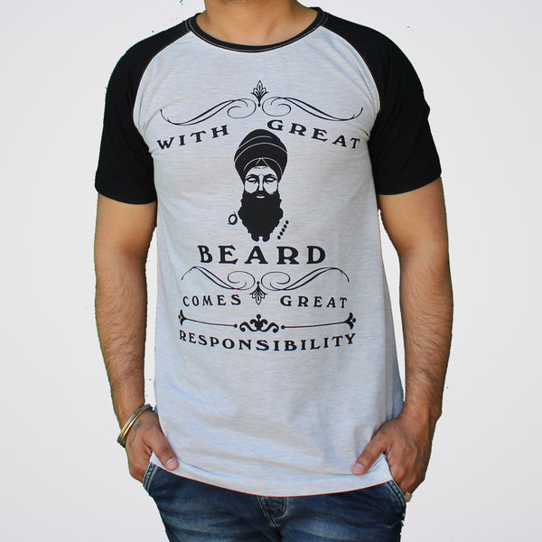 With Great Beard Comes Great Responsibilty | Round neck Punjabi Sikh T Shirt