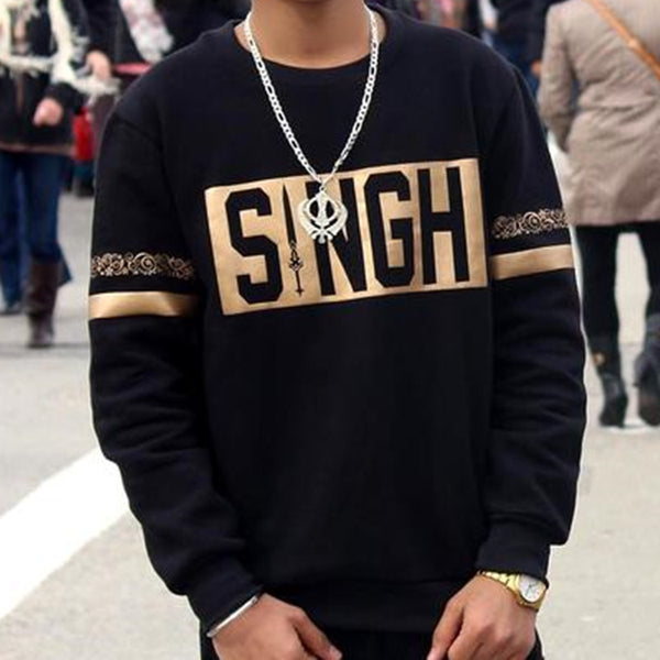 Singh Punjabi SweatShirt Black Gold