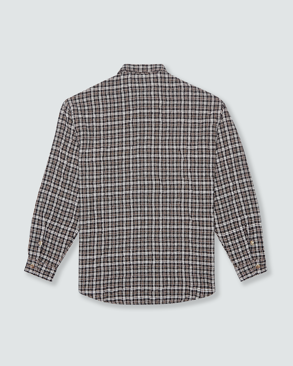 Brown Check Crinkle Shirt