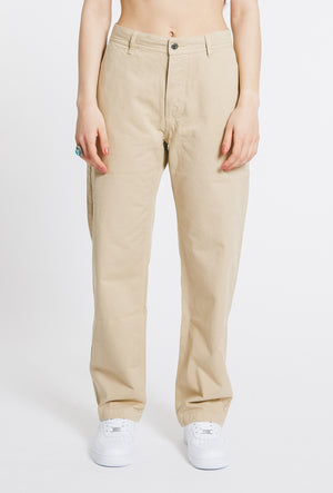 Straight Cotton Trousers - Beige - OG