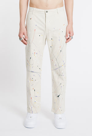 Hand Painted Straight Cotton Trousers - Stone