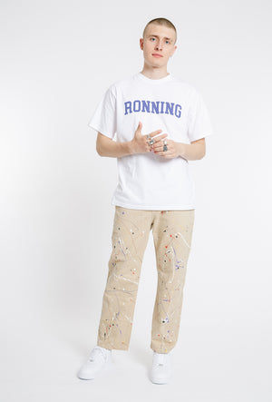 Hand Painted Straight Cotton Trousers - Beige