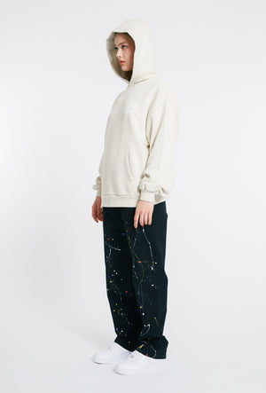 Hand Painted Straight Cotton Trousers - Black