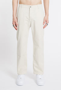 Straight Cotton Trousers - Stone