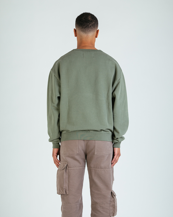 Washed Olive Everyday Crewneck