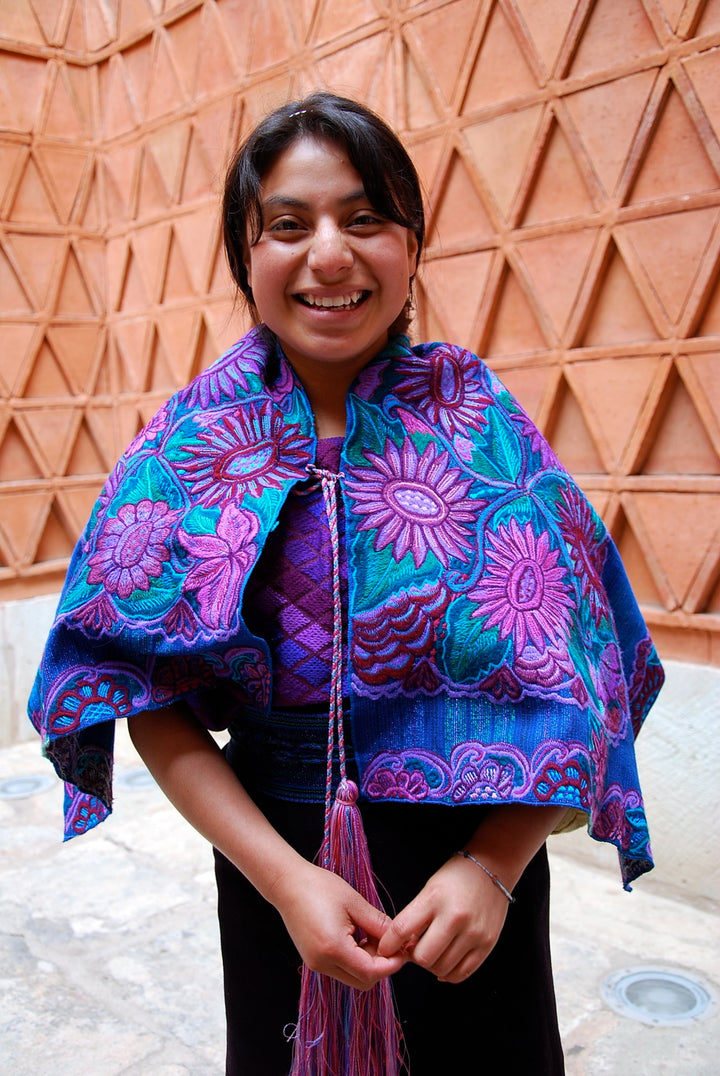 A Maya weaver artisan from El Camino de los Altos cooperative in Chiapas Mexico