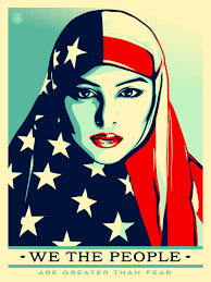 Thread Spun honors women and refugees with this Shepard Fairey poster of a Muslim American woman.