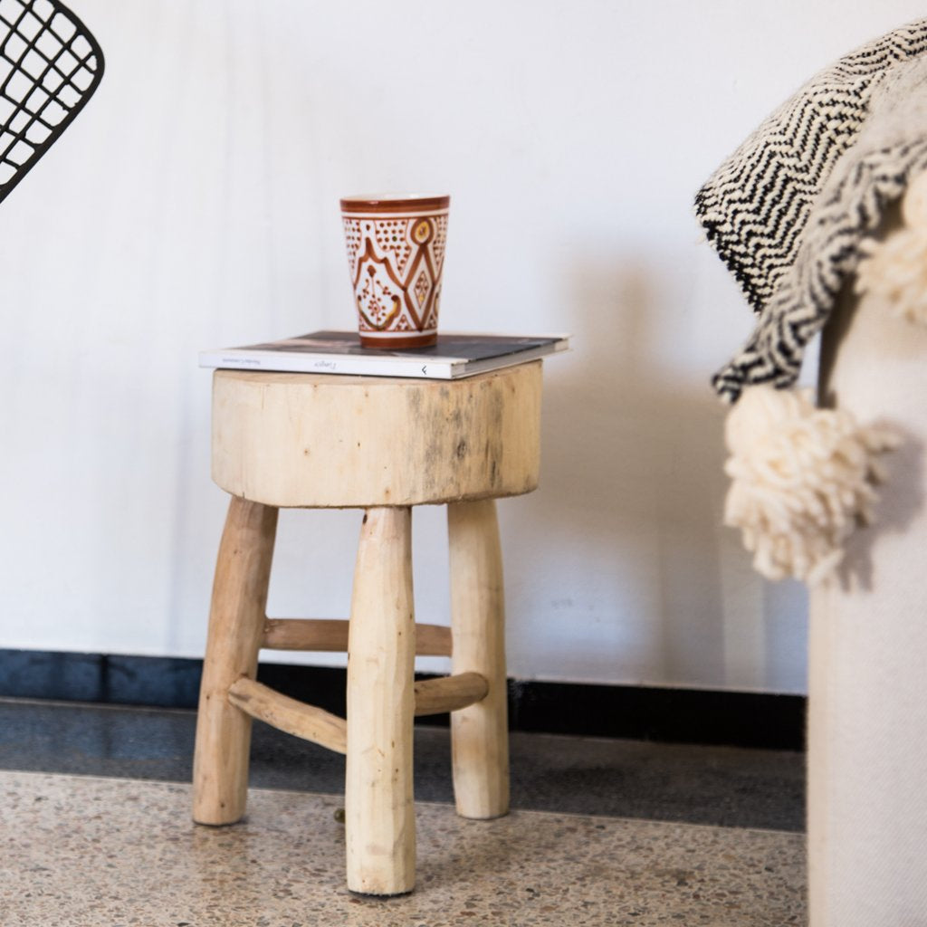 Round side table made ethically in Morocco from Eucalyptus wood