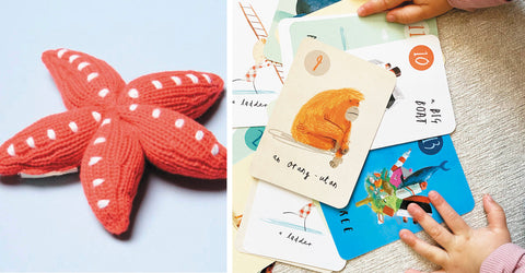 THREAD SPUN BABY GIFTS ON A BUDGET, STARFISH RATTLE, ECO RATTLE, GO FISH, KIDS CARD GAME