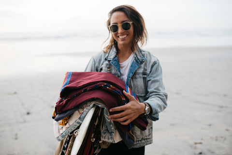 Mele Saili for Thread Spun, featuring a stack of handmade and eco-friendly surfboard bags in Encinitas.