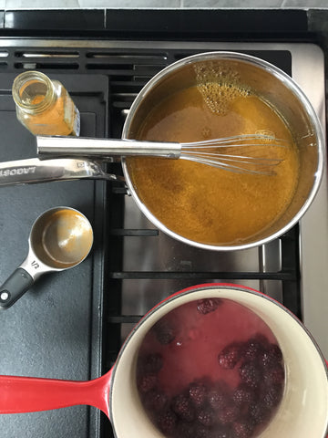 Using turmeric and blackberries to make natural dyes with Thread Spun.