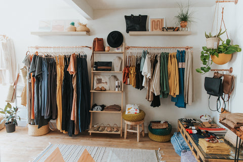 Sustainable and ethically-produced apparel displayed at Thread Spun boutique in Encinitas, California