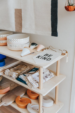 Handmade goods from Morocco, India and Mexico like rugs, planters and bowls line the shelves at Thread Spun boutique in Encinitas