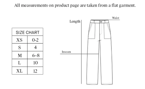 Lacausa Size Guide - Thread spun - Lola Pant