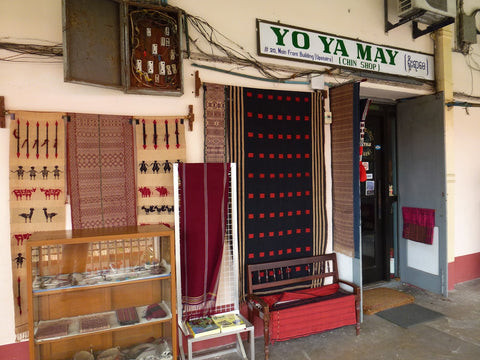 The storefront of Thread Spun partner Yoyamay Textiles in Burma is featured.