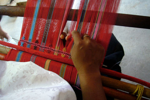 Fair trade textile weaving by el camino de los altos women artisans and sold by Thread Spun