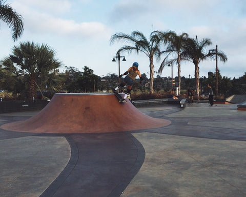 Blogger Devon Demint skates at a park in California.