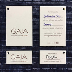 Gaia Empowered Women based in Dallas, Texas hire resettled refugee artisans to create pillows, clutches, purses and more