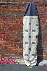 Handmade surfboard bag or sock made by Thread Spun in Encinitas and sold online features blue and white handwoven textiles from Burma