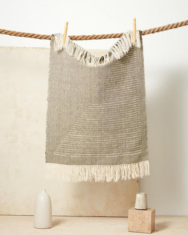 Handwoven and fair trade tea or hand towel by Minna in moss
