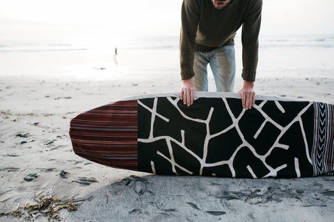 Thread Spun handmade surfboard bag using fair trade textiles from Mali and Guatemala.