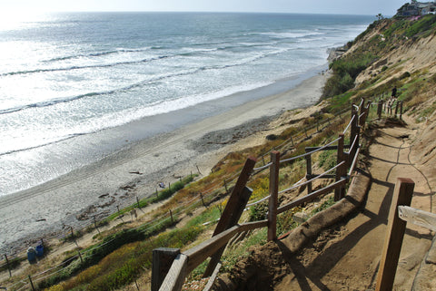 Walking the path to Beacons surf break in Encinitas.