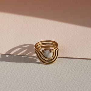 Brass and crazy lace agate stone handmade ring. Due to the stones being natural, each is one-of-a-kind.