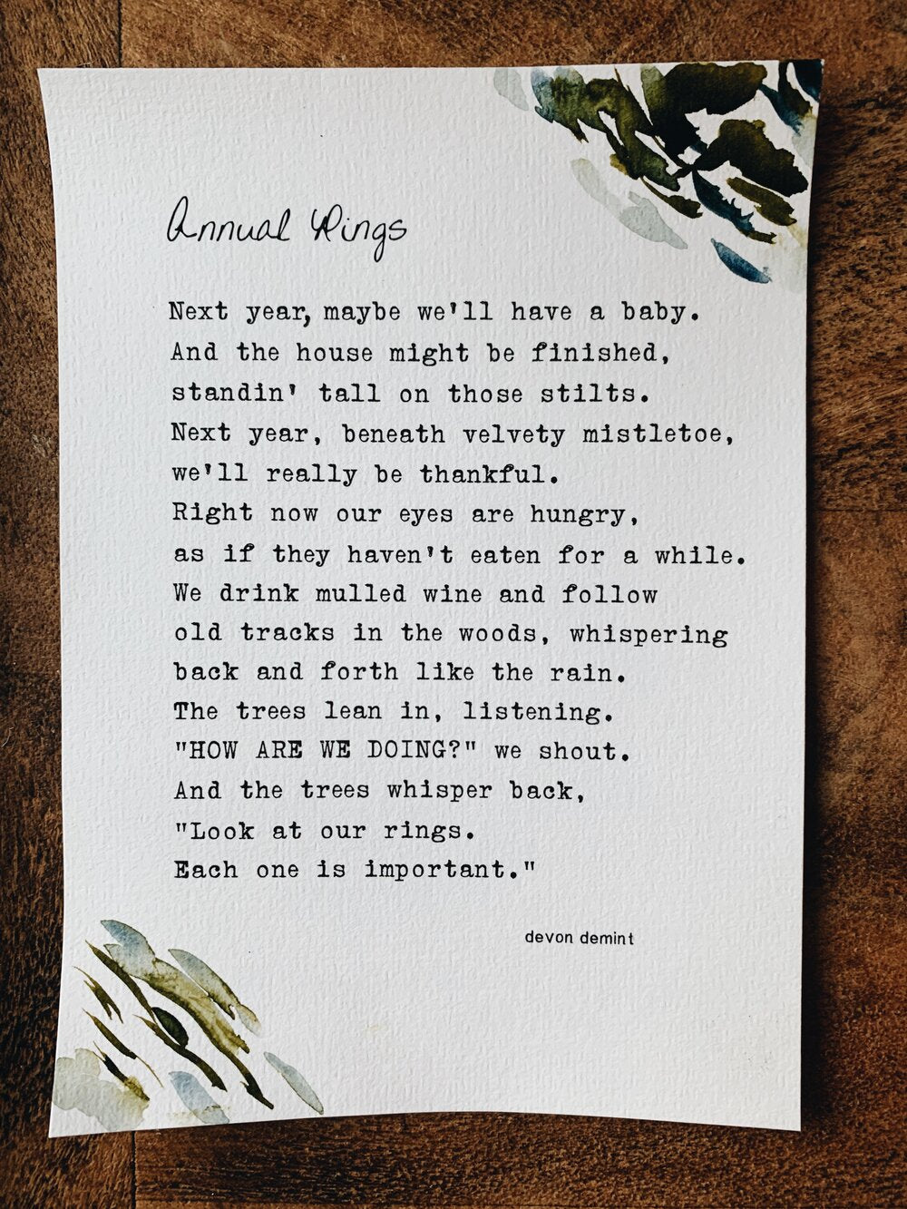 Beautiful and evocative poetry by Leucadia local surfer, skater, mother and writer Devon Demint. Ready-to-frame poem print, on hand painted cotton cold press paper.Beautiful and evocative poetry by Leucadia local surfer, skater, mother and writer Devon Demint. Ready-to-frame poem print, on hand painted cotton cold press paper.