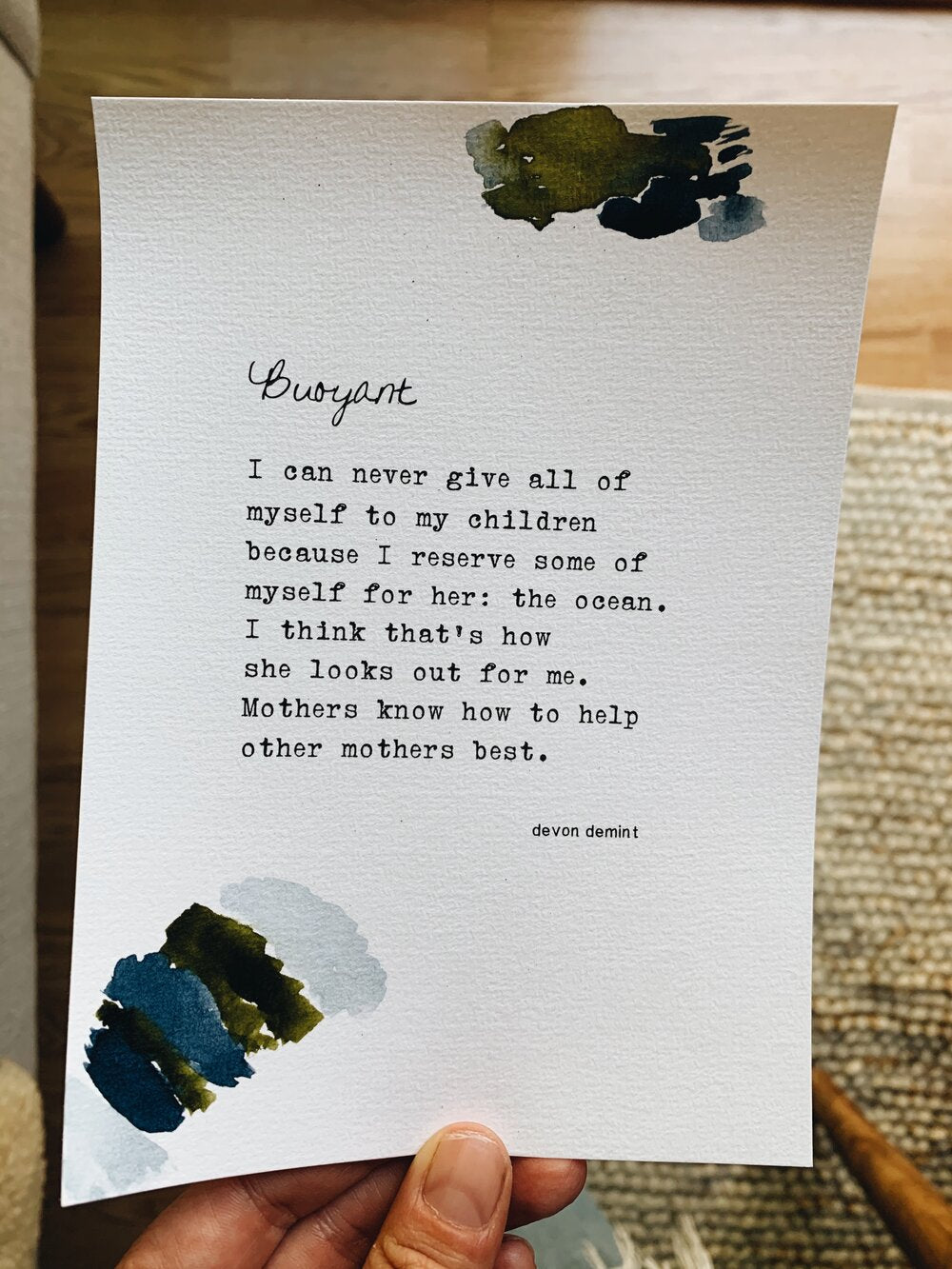 Beautiful and evocative poetry by Leucadia local surfer, skater, mother and writer Devon Demint. Ready-to-frame poem print, on hand painted cotton cold press paper.