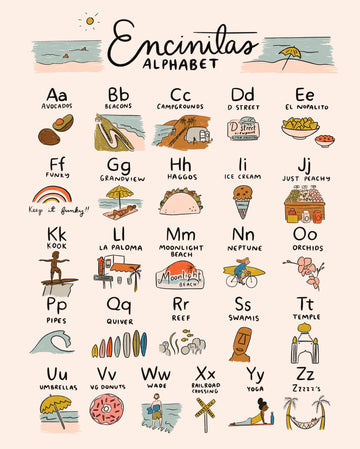Hand drawn by Abbie Paulhus, this Encinitas alphabet print features local favorites and is sold by Thread Spun