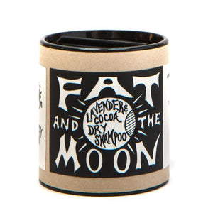 Cocoa and lavender dry shampoo by Fat and the Moon is aluminum-free and natural and sold by Thread Spun