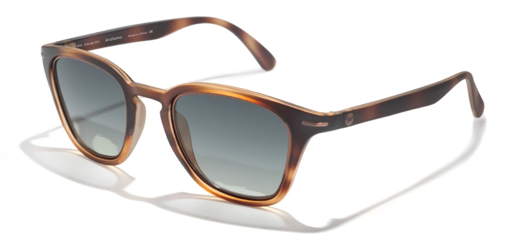 Polarized sunglasses made from recycled resin in a tortoise shell colored frame.