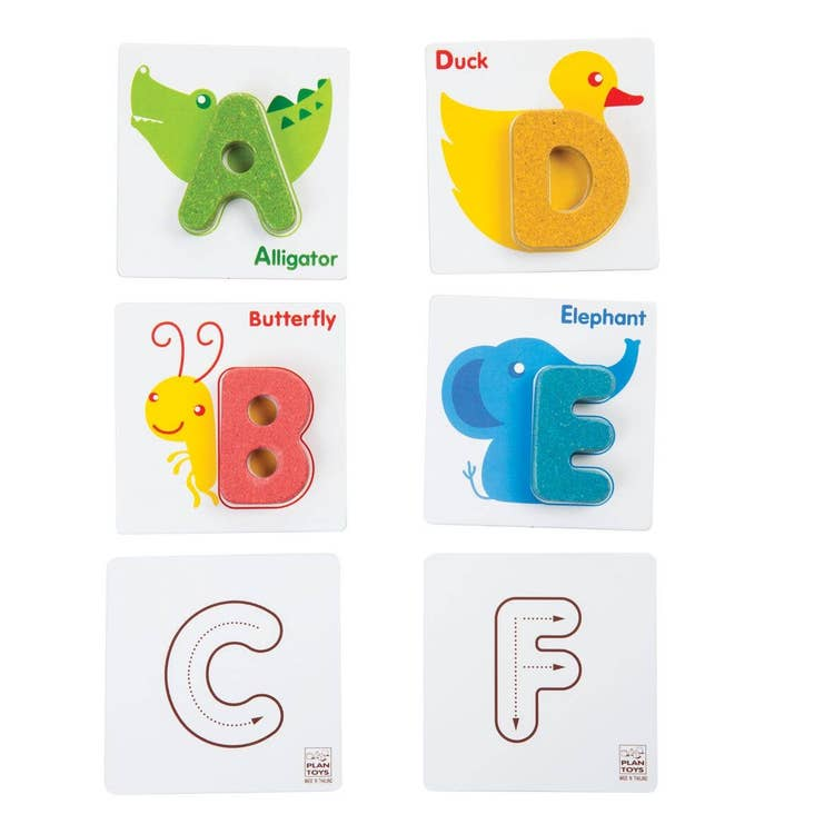 Learn the alphabet with Plan Toys. The set comes with 26 capital letters and 2 side bases. The front base has animal pictures which relate to the alphabet. On the back are directions for writing the alphabet. Suitable for children 2 years and up.