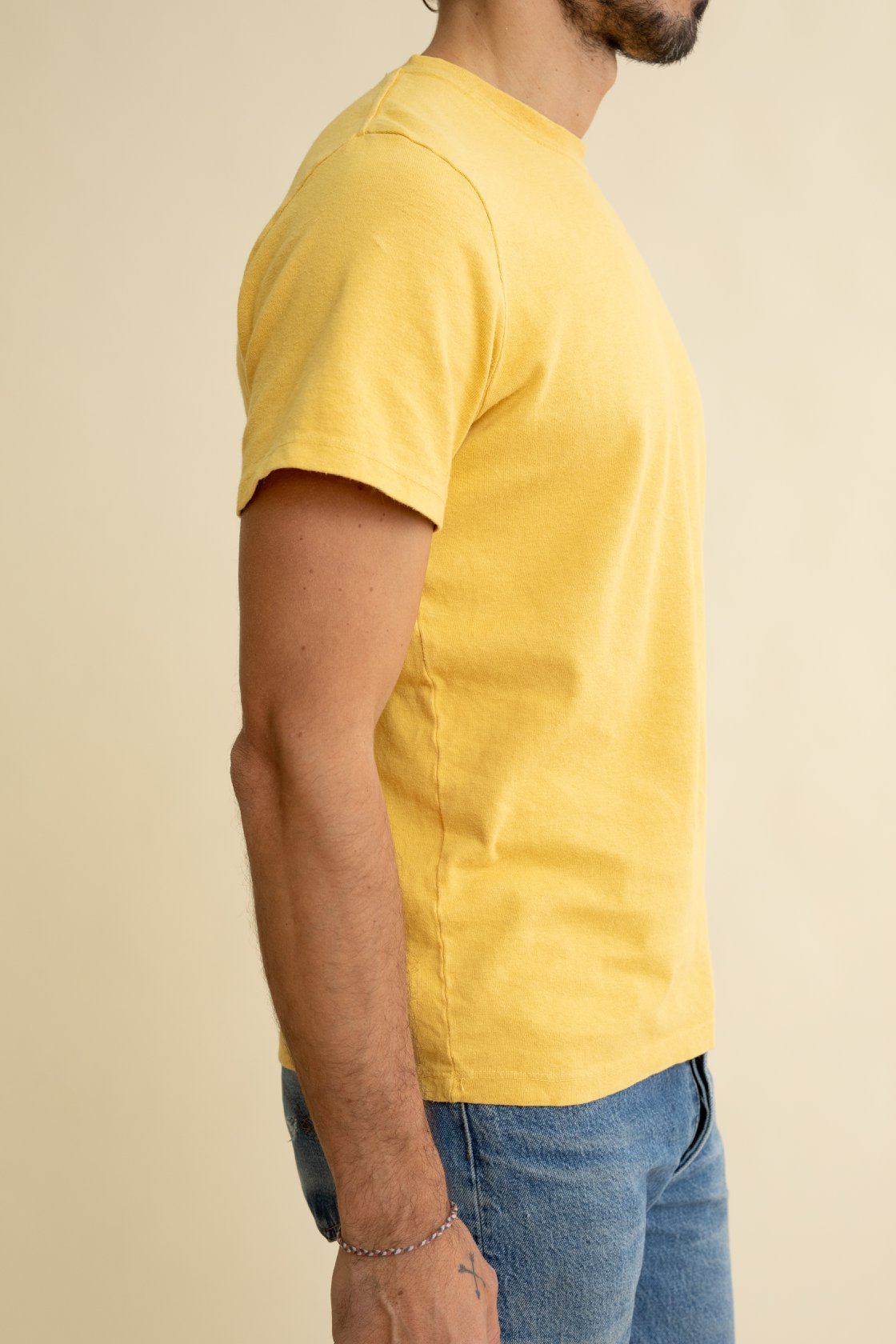 Sunray (or yellow) Baja tee by Jungmaven is a cotton and hemp light t-shirt that is unisex.