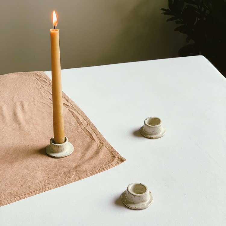 Hand-built ceramic candlestick holder. Also works great as an air plant holder or for burning cone incense.