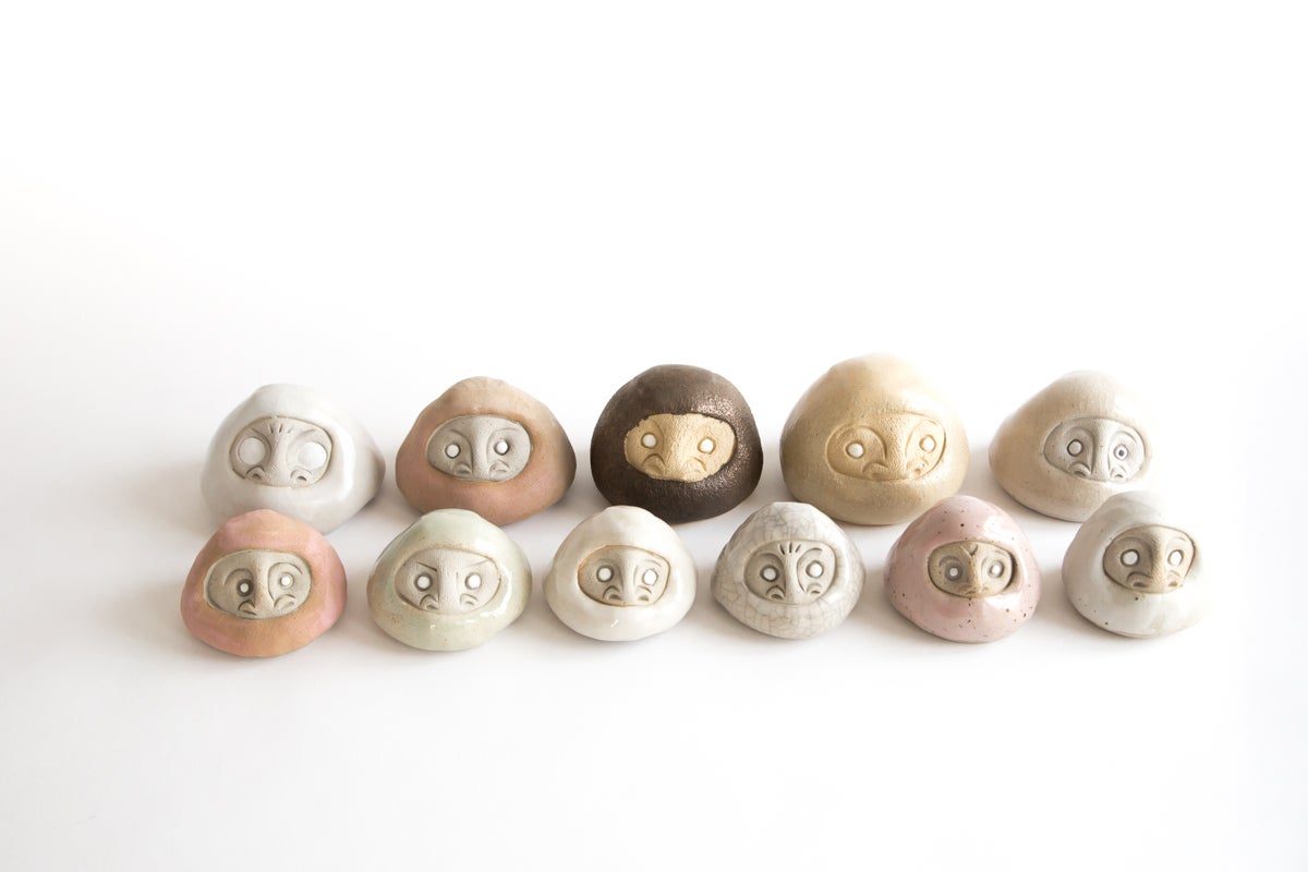 Handmade Daruma Wishing dolls for large wishes and goals. Ceramic. Handmade in Los Angeles, California. The perfect gift for the new year. Ceramic and one of a kind.