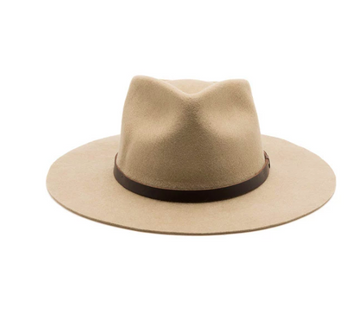 Sustainably made fedora hat with salvaged and recycled materials. This felt fedora hat has a stiff fit and is made with salvaged leather.