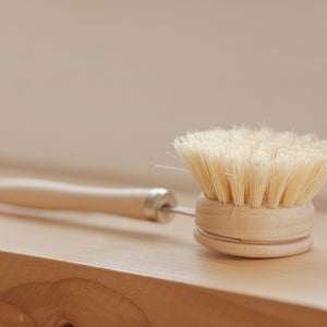 Open image in slideshow, Casa Agave™ sustainable dish brush swap helps you replace plastic dish brushes in the kitchen! This removable-head dish brush has stiff agave fiber (vegan) plant bristles.
